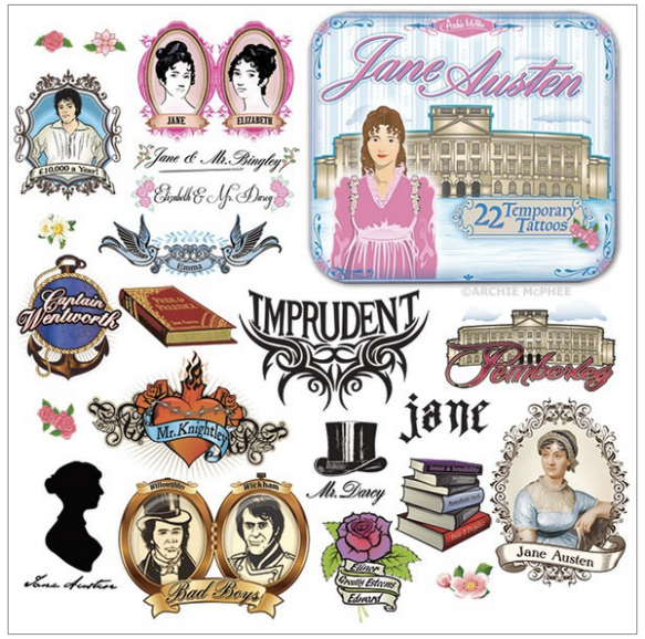 Jane Austen Temporary Tattoos
